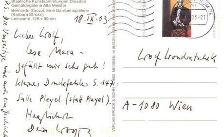 Postkarte des Komponisten Wolfgang Rihm an Wolf Wondratschek